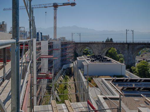 Echafaudages pour construction de logements à Paudex