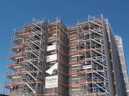 Echafaudage de façade pour rénovation immeuble à Broc / Fribourg